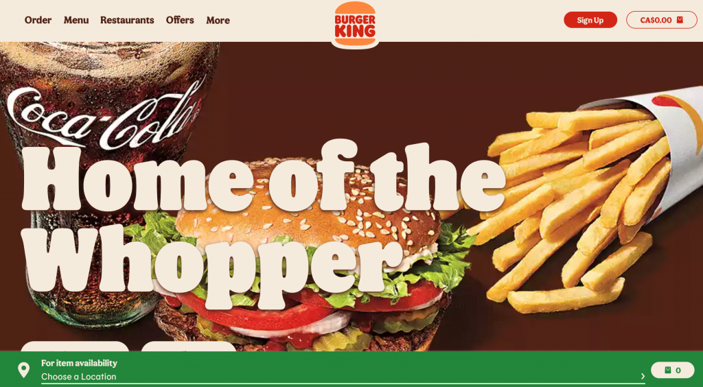 Image of Burger King's Canadian Website's Homepage.